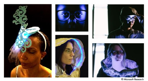Wearable light therapy prototypes (clockwise starting from left): fascinator hat, glasses, golfer's hat, cowl, hood.